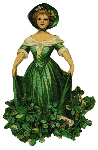 Free Good Luck Spell - Vintage Lady Wearing Green Clover Dress - Lucky Good Fortune Spells